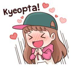 Kyeopta means. Anime Korea, Korean Anime, Korean Phrases, Korean Words, Pop Stickers, Kawaii Stickers, Emoji, Chibi Kawaii, Korean Expressions
