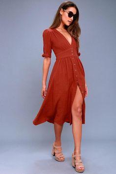 #Valentines #AdoreWe #Lulus - #Lulus Love of My Life Rust Orange Midi Dress - Lulus - AdoreWe.com