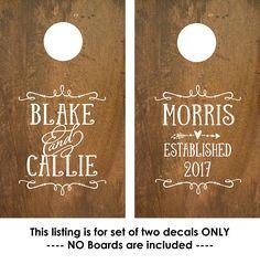 Corn Hole Board Decal | Rustic Wedding | Cornhole Board Monogram Decal | Cornhole Decal | Personalized Cornhole Game Decal by OldBarnRescueCompany on Etsy https://www.etsy.com/listing/519066408/corn-hole-board-decal-rustic-wedding