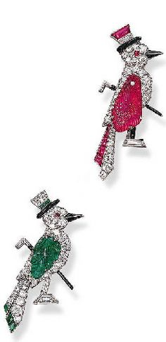 TWO   ART DECO MULTI-GEM BIRD BROOCHES diamonds, rubies, emeralds and enamel   circa 1925 The second brooch signed Udall & Ballou