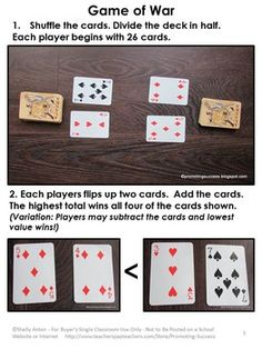 FREE Download - Math Games with a Deck of Cards - In this packet, you will receive photo directions for an educational math game with a deck of cards. Students will use addition or subtraction in a modified Game of War.  https://www.teacherspayteachers.com/Product/FREE-Download-Math-Games-Kindergarten-1st-Grade-Addition-Subtraction-Centers-1848125