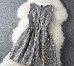 Elegant Beaded Metallic Party Dress