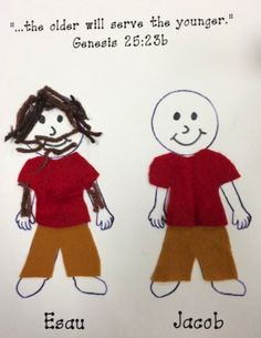 Esau and Jacob http://traceyhollidaysclass.blogspot.com/p/kindergarten-artwork.html