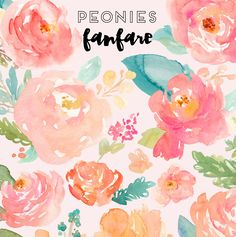Watercolor Peonies Clip Art Collection – Angie Makes