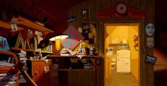 Living Lines Library: The Iron Giant - Backgrounds interior environment clutter papers, mess lamp office Cartoon Background, Animation Background, Bg Design, Layout Design, Game Design, Graphic Design, Environment Concept Art, Environment Design, Concept Art Gallery
