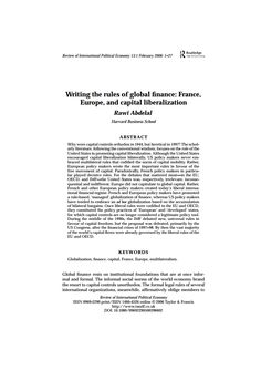 Writing the rules of global finance: France, Europe, and capital liberalization