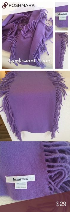LAMBSWOOL Johnstons of Scotland Lavender Scarf 💜 Love Lavender this scarf is for you! Wear with a jacket or coat or just as an accessory for your outfit. Fringed scarf with fringes on both sides...a unique style. Made in Scotland where premium wool is gathered. Gently preloved. If hand washed, wash cold...do not wring..lay flat to dry. Johnstons Accessories Scarves & Wraps