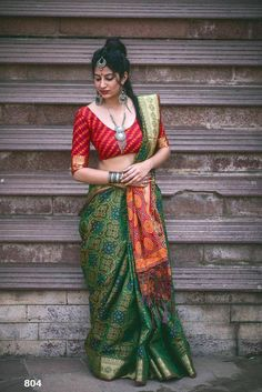 Banarasi weaving Patola silk green saree with contrast pallu and contrast brocade blouse piece for indian wedding function Saree Draping Styles, Saree Styles, Tussar Silk Saree, Chiffon Saree, Fancy Sarees, Party Wear Sarees, Indian Beauty Saree, Indian Sarees, Indian India