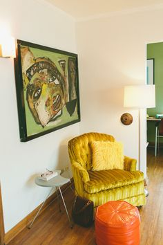 Paint colors that match this Apartment Therapy photo: SW 6690 Gambol Gold, SW 7041 Van Dyke Brown, SW 6424 Tansy Green, SW 6132 Relic Bronze, SW 7526 Maison Blanche