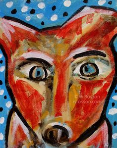 Red Dog, Whimsical Painting. ©W.Rosson
