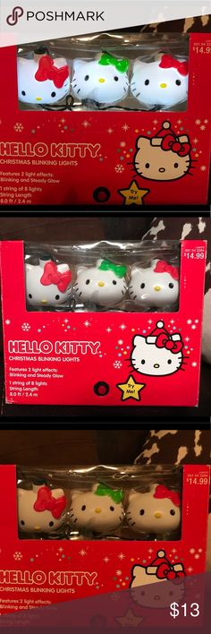 Hello Kitty Christmas Lights One string of eight hello kitty head lights with green and red bows.  Steady glow feature or blinking option.  Very cute & mint condition-just decided to change my Christmas theme last minute and don't need them! Hello Kitty Accessories