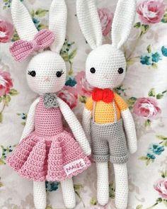 mutlu haftalar olsun☺ Amigurumi Doll, Amigurumi Patterns, Crochet Patterns, Crochet Dolls, Knit Crochet, Crochet Rabbit, Bunny Toys, Doll Toys, Knitting