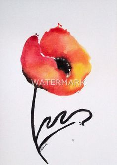 Abstract Flower / Poppy , original watercolour (not print) on 240g paper A5 approx: 8x6inch/21x15cm. FREE SHIPPING $25.00 USD