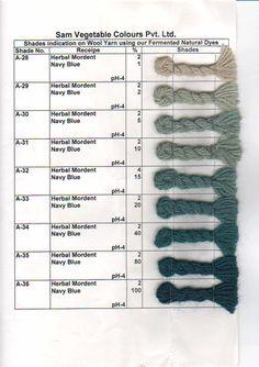 http://www.bluecastlefiberarts.com/natural-dye-shade-charts.html