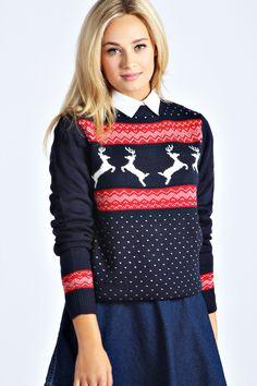 Kadie Knitted Reindeer Christmas Jumper at boohoo.com