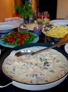 laxpasta Fish Recipes, Seafood Recipes, Pasta Recipes, Great Recipes, Dinner Recipes, Cooking Recipes, Healthy Recipes, Recipies, Zeina