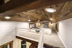 Rustic Meets Luxury: Loft Edition for sale on the Tiny House Marketplace. This loft edition is the epitome of rustic meeting luxury. Tiny Houses For Rent, Tiny House Listings, Modern Tiny House, Tiny House On Wheels, Tiny House Design, Big Houses, Little Houses, Mini Loft, Tiny House Bedroom