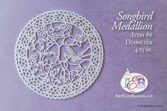 Songbird edible lace medallion for wedding cakes, birthday cake design and cupcakes