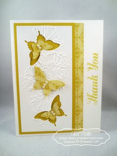 2014 Stamp Sets: Lots of Thanks (Wood Mount 132025, Clear Mount 129690) Tools: Big Shot Die Cutting Machine (113439), Flower Garden Textured Impressions Embossing Folder (123113), Elegant Butterfly Punch (127526), Bitty Butterfly Punch (129406), Simply Scored Scoring Tool (122334), Paper Snips (103579), Stampin' Trimmer (126889), Stampin' Dimensionals (104430)