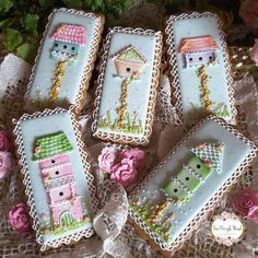 For the birds - bird houses, bird apartments - cookie set by Teri Pringle Wood