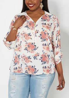 Plus Pink Blossoms Zipped Popover Top | rue21