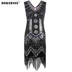 New Fashion Women 1920s V Neck Beaded Sequin Art Deco Gatsby Inspired Flapper Dress Great Gatsby Party Dress TC718