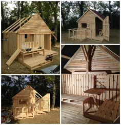 I decided to build a 19 Pallet Teenager Cabin Hideaway. This time, the cabin& larger and better suited for teenagers. It can be built from old pallets too. Pallet Playhouse, Pallet Shed, Pallet House, Build A Playhouse, Pallet Bar, Playhouse Furniture, Wooden Pallet Crafts, Wooden Pallet Furniture, Diy Pallet Projects
