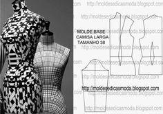 MOLDE BASE CAMISA LARGA TAMANHO 38 O molde base é o ponto de partida para chegar ao molde final. Este processo é fundamental aos profissionais de moda. Est