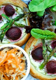 Tinned Tomatoes: Beet, Chive & Asparagus Tarts with Spicy Slaw