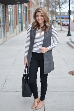 Long gray vest outfit - striped long sleeve tee with a long grey vest. Want more cute casual outfits head to! Vest Outfits For Women, Cute Casual Outfits, Clothes For Women, Clothes Sale, Casual Clothes, Western Outfits, Long Vest Outfit, Formal Business Attire, Clothing Staples