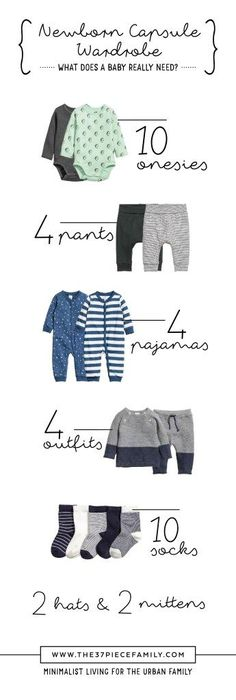 Capsule Wardrobe: Infants!  Minimalist living for the urban family.  www.the37piecefamily.com #diymaternityclothesfall