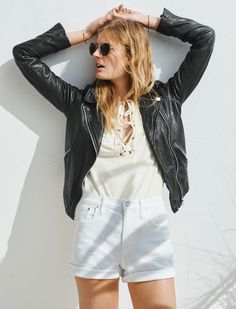 Constance Jablonski pose for Libra Lace-Up Tee, Fest Aviator Sunglasses and Motorcycle Jacket  2016 lookbook photoshoot