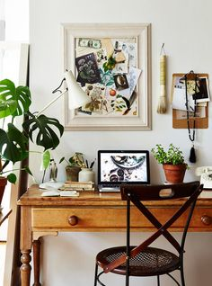 From buying a succulent to investing in quality sheets, these are the dorm room decor hacks you need before you start college. Home Office Inspiration, Inspiration Boards, Deco House, Botanical Interior, Turbulence Deco, Style Deco, Home Office Space, Tiny Office, Cozy House