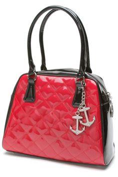 Black & Shiny Red Bon Voyage Tote Bag by Lux DeVille   Bags