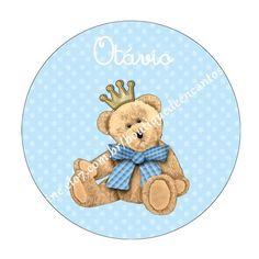 Rótulo adesivo circular Tema: urso rei  Tamanho: 5cm de diâmetro Impressão: qualidade fotográfica, colorida, com brilho, em papel fotográfico a prova d'água 130g   EMAIL: boutiquedeencantos@gmail.com