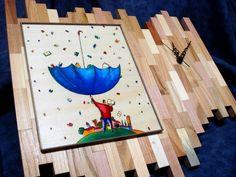 Orologio in tasselli di legno con decorazione tempera  e pirografia su pioppo applicato