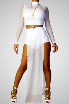 Sexy long sleeved crop top and hot pants white satin stretch spandex and mesh quality clubwear Avaliable in sizes - small medium large