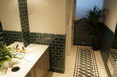 #Victorian effect #porcelain #geometric #tiledfloor, with #metrobrick tiles to walls
