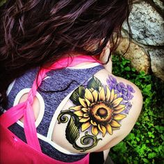 raven skull sunflower violets tattoo - Google Search