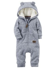 Baby Boy Hooded Sherpa Jumpsuit from Carters.com. Shop clothing & accessories from a trusted name in kids, toddlers, and baby clothes. https://presentbaby.com