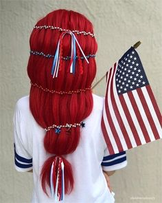 11 Patriotic Looks that Will Steal Any Firework Show - Inspiration - Modern Salon Hair Color Blue, Blue Hair, Patriotic Outfit, Fireworks Show, Holiday Hairstyles, Independence Day, Fourth Of July, Braids, Hair Styles
