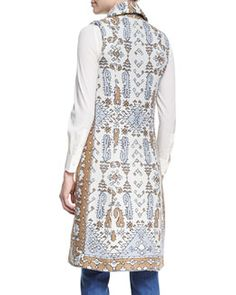 TADRV Tory Burch Printed Jacquard Long Vest