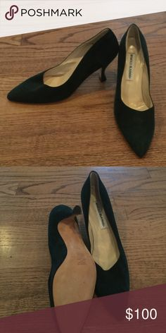 574083643c Vintage manolo blahniks Perfect for the Fall/Winter hunter green suede  pointy toe 2 inch heels Manolo Blahnik Shoes Heels