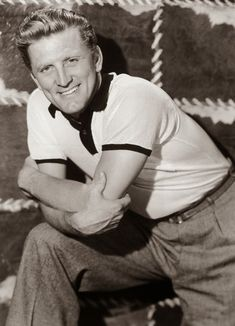 "Kirk Douglas, one of the great Hollywood leading men whose off-screen life was nearly as colorful as his on-screen exploits in movies like ""Spartacus"" and ""Champion,"" has died, according to his son, actor Michael Douglas. Hollywood Men, Old Hollywood Stars, Hollywood Icons, Golden Age Of Hollywood, Vintage Hollywood, Hollywood Glamour, Classic Hollywood, Kirk Douglas, Olivia De Havilland"
