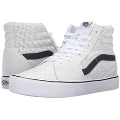 Vans Sk8-Hi Lite ((Perf) White) Men's Skate Shoes ($85) ❤ liked on Polyvore featuring men's fashion, men's shoes, men's sneakers, mens shoes, mens hi tops, mens white shoes, mens leather high tops and mens running sneakers