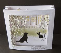 "Goodmorning everyone. Sharing my DT card for Poppystamps blog today.  http://poppystamps.typepad.com/ Concertina scene card..6""x6"".  Love these Poppystamps Patient Pup and Friendly Kitties. sentiment"