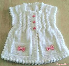 "diy_crafts- Örgü modelleri yelek bebek ""Sweet baby vest for our little girls. And This products selinng from knitter if you want to buy you can c Baby Knitting Patterns, Baby Patterns, Crochet Patterns, Crochet For Kids, Knit Crochet, Crochet Hats, Knitted Hats, Baby Cardigan, Vest Pattern"