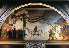 The Midvinterblot (Midwinter Sacrifice) depicts the sacrifice of King Domalde to the pagan gods to avert famine. The painting was intended to contrast the Midsummer entry of King Gustav Vasa in Stockholm in 1523, painted by Larsson in 1908, on the opposite wall in the central staircase of the museum.