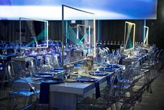 """The American Cancer Society hosted its Discovery Ball at the Radisson Blu Aqua Hotel in Chicago on April 25. This year's theme had a futuristic overtone that inspired the look and feel of the 750-guest soiree. """"During dinner, planes of light and hand-tied wire patterns that projected light striae ... visually transported guests into a future periphery,"""" designer Rishi Patel of HMR Designs said.  Photo: Bob and Dawn Davis"""
