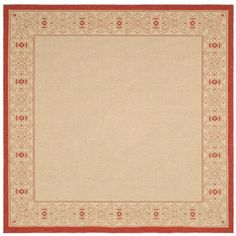 Safavieh Courtyard Gates 7 x 7 Natural/Red Square Indoor/Outdoor Border Coastal Area Rug in the Rugs department at Lowes.com